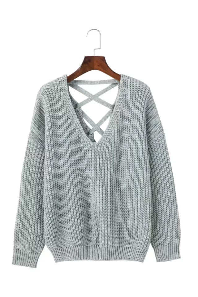 Deep V-neck Pure Color Back Straps Cross Pullover Sweater