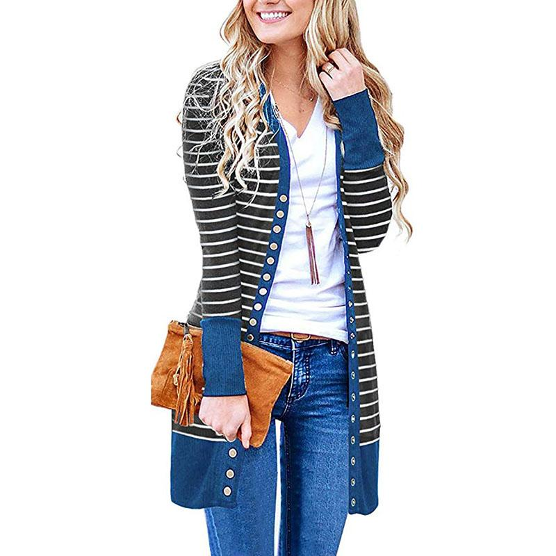 Colorblock Stripes Longline Cardigan