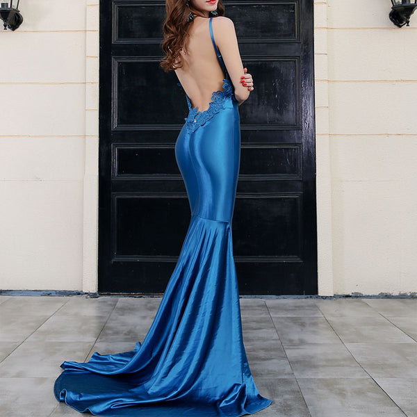 Sling Lace Splice Satin Maxi Dress