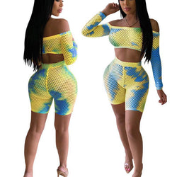 Patchwork Crop Top High Waist Shorts Set