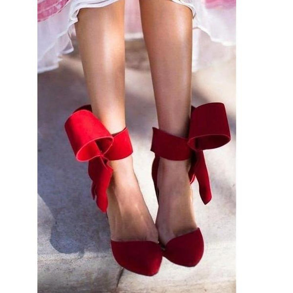 Free Shipping Charming Removable Big Bow High Heel Heels Shoes