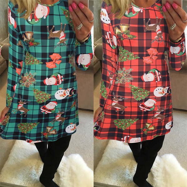 Christmas Print Tight A Line Dress