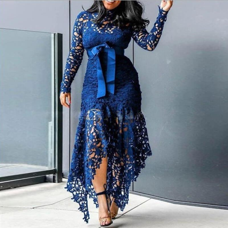 Tie Waist Asymmetric Lace Long Dress