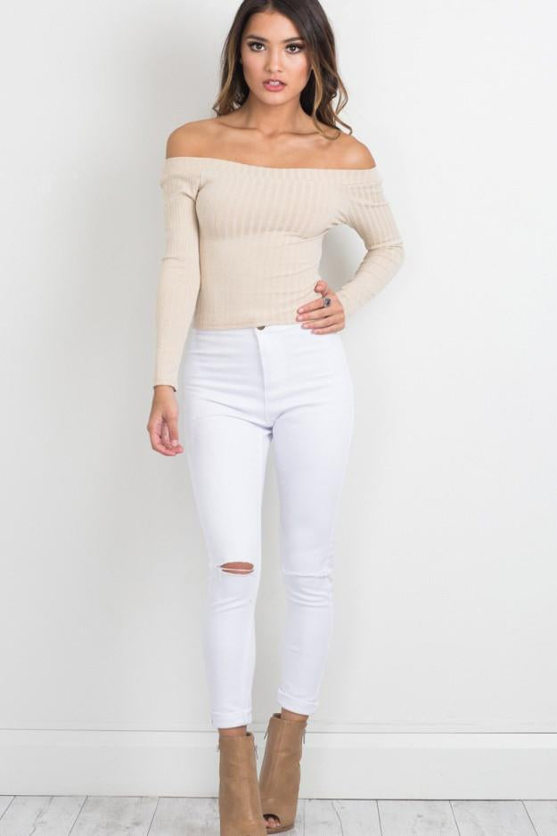 Pure Color Long Sleeves Off shooulder Regular Sweater