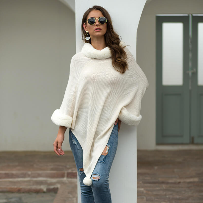 Poncho Pure Color Pullover Sweater