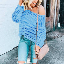 Sheer Ribbed Long Sleeve Knit Sweater