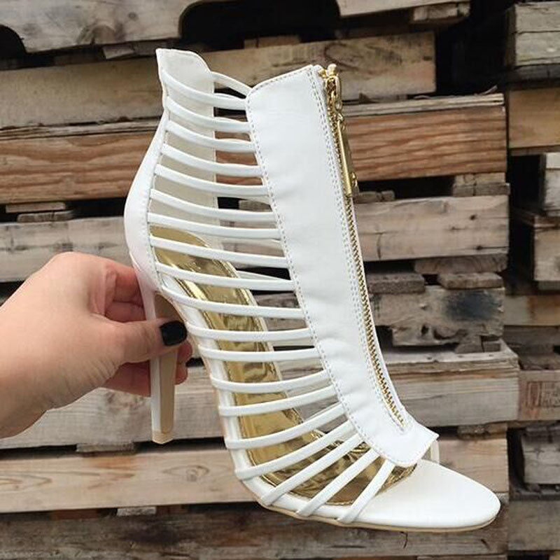 Sexy White Leather Cutout Open Toe High Heel Sandals