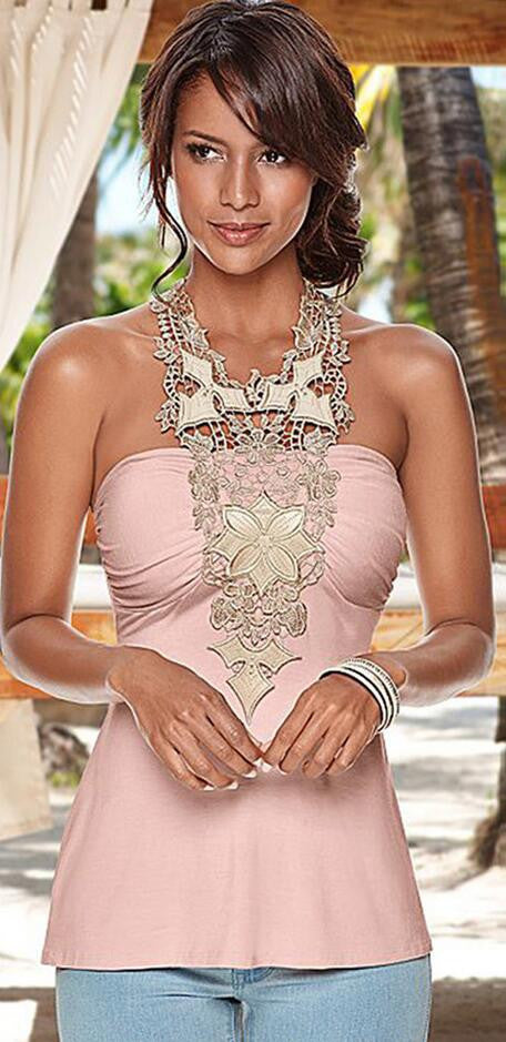 Fashion Halter Lace Patchwork Backless Sleeveless Blouse