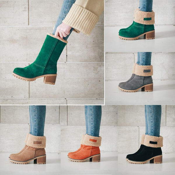 Platform High Chunky Heel Suede Calf Boots