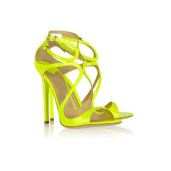 Sexy Patent Leather Cutout Buckle High Heel Sandals