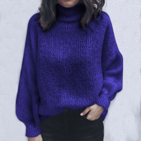 Turtleneck Solid Knit Sweater