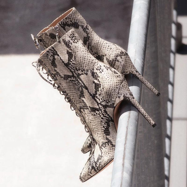 Sexy PU Snakeskin Point Toe Strap High Heel Boots