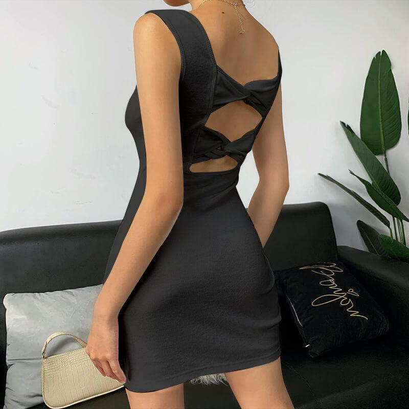 Cut Out Beautify Back Sleeve Bodycon Dress