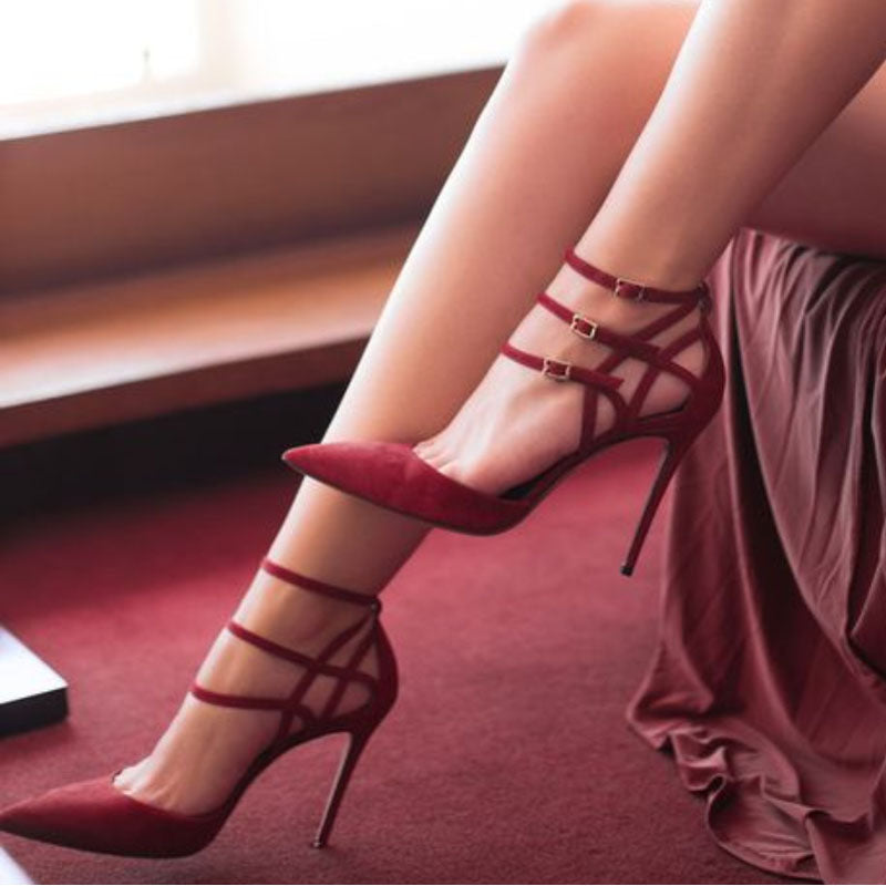 Wine Red Suede Buckles Pointed Toe High Heel Sandals