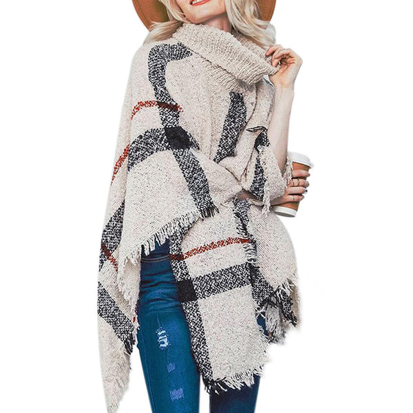 Mid-Long Tassel Shawl Oversized Turtleneck Women Sweater