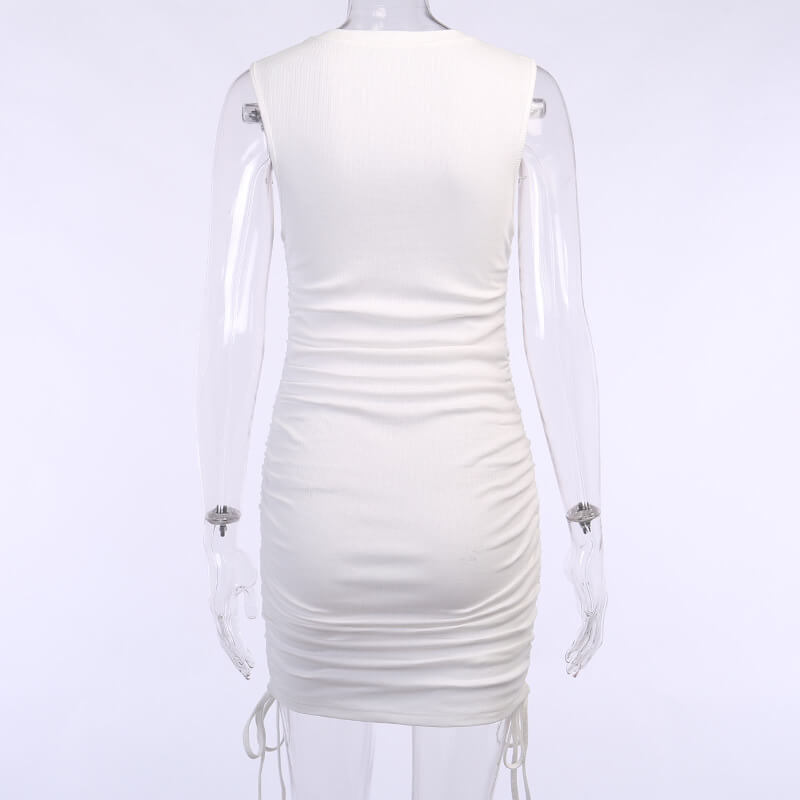 Sleeveless Drawing Ruched Bodycon Dress