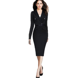 Business Pencil V Neck Bodycon Suit Dress