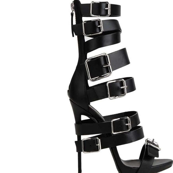 High Heel Open Toe Buckle Cutout Sandals