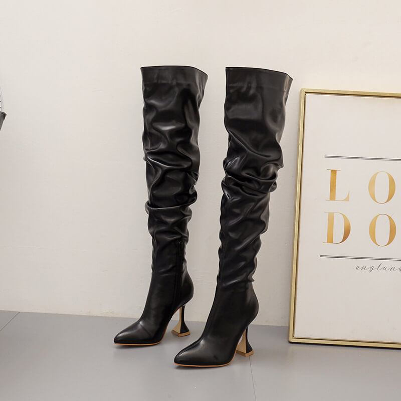 Sexy PU Point Toe Plain High Heel Over Knee Boots