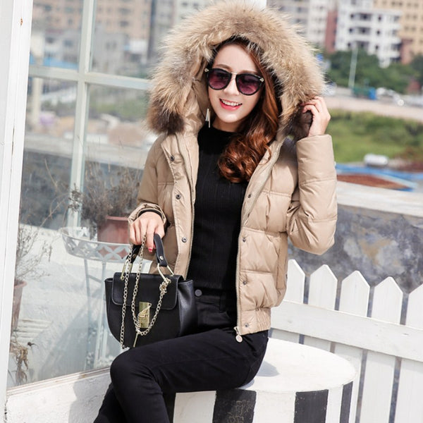 Black Faux Leather Down Jacket