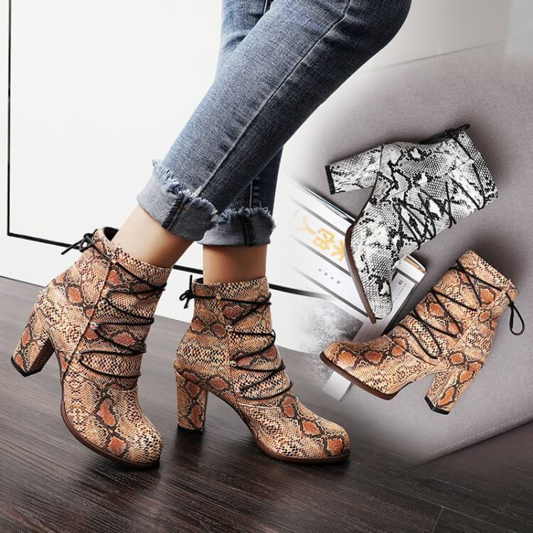 Snakeskin Lace Up Round Toe Ankle Boots
