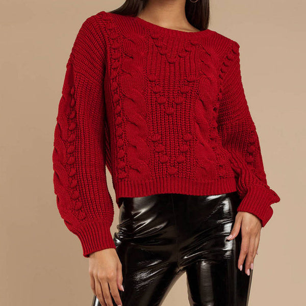 Chunky Lantern Sleeve Cable Knitted Sweater