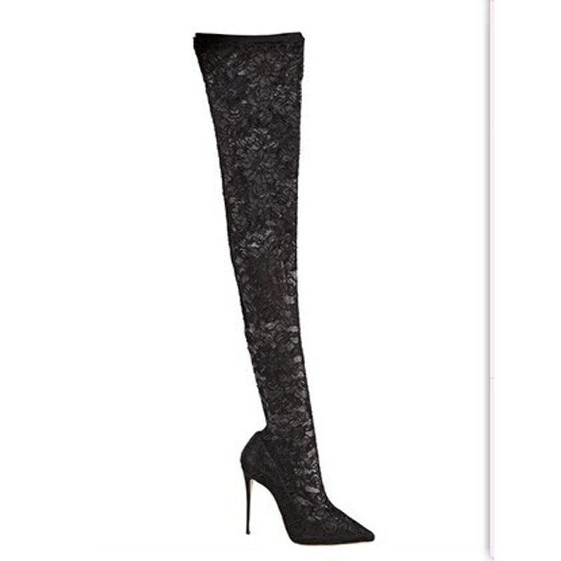 Sexy Black Lace Pointed Toe Thigh High Boots