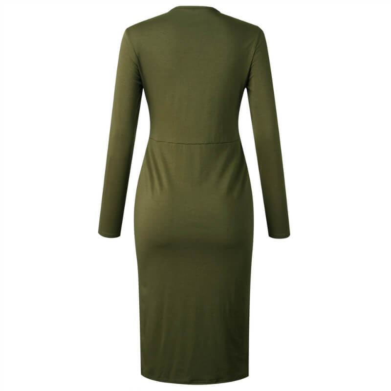 Tight Front Twist Button Midi Dress