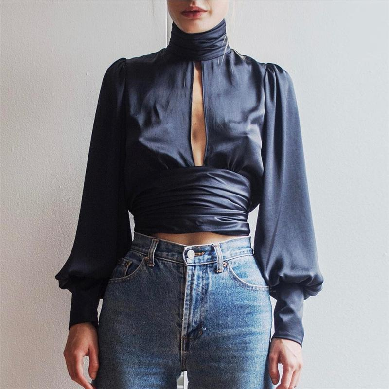 High Neck Cut Out Long Lantern Sleeves Backless Short Blouse