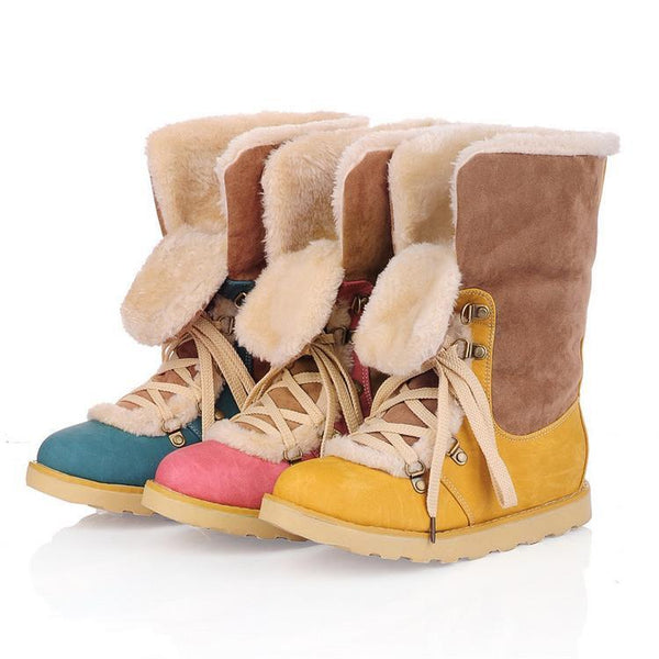 Patchwork Lace Up Fur Lining Flat Martin Boots