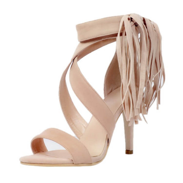 High Heel Nude Fringe Suede Sandals