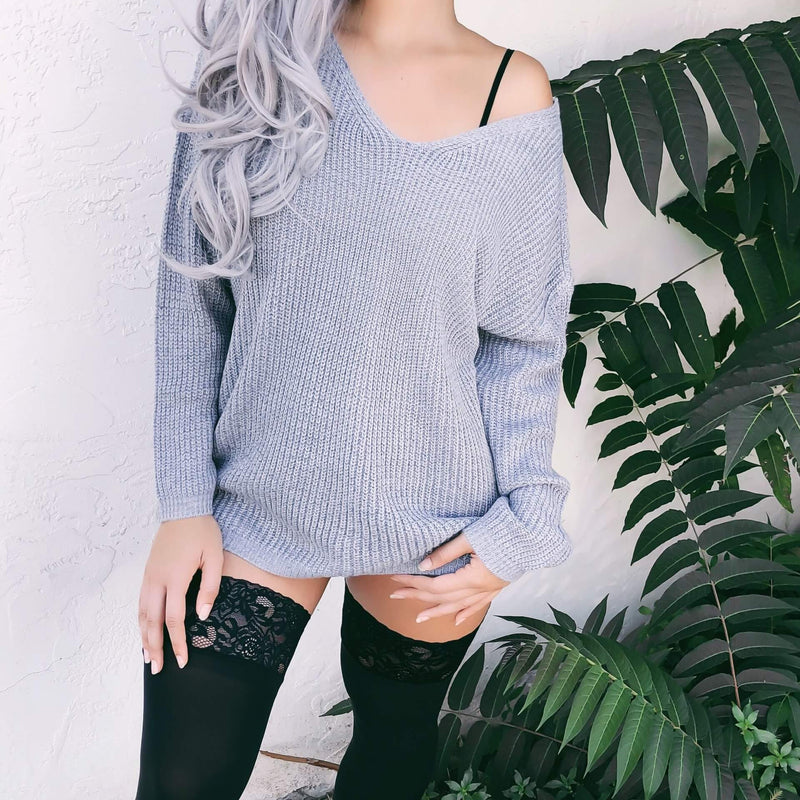 V-neck Lace-up Pure Color Knit Sweater