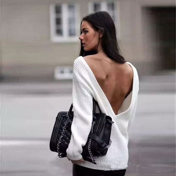 Sexy Loose Backless Deep V White Sweater