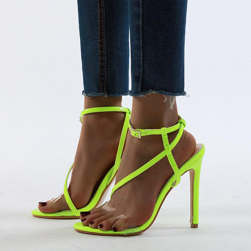 Strap Clear High Heel Buckle Sandals