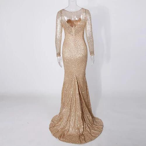 Champagne Mermaid Floor Length Evening Dress