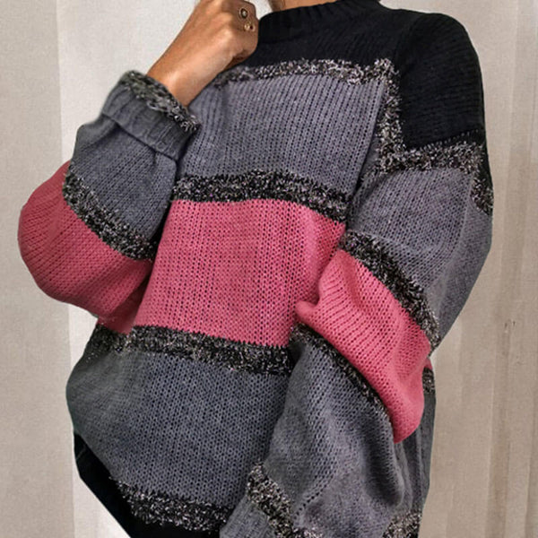 Lantern Sleeve Patchwork Sweater