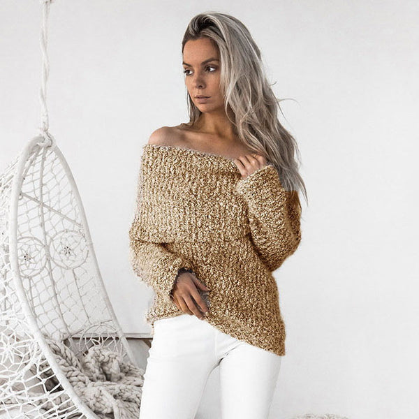 Off Shoulder Long Sleeves Slim Long Swaeter
