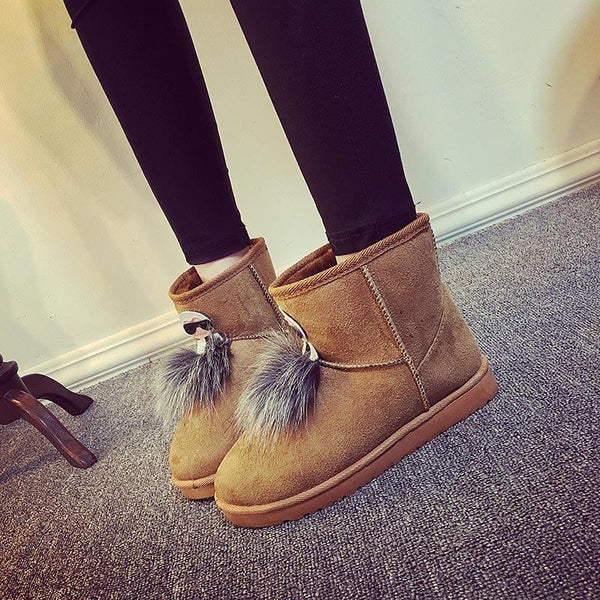 Low Heel Snow Fur Suede Boots