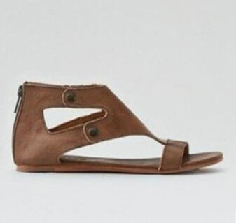 Leather Open Toe Buckle Cutout Flat Sandals