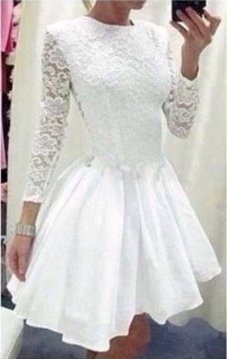 Lace O-neck Long Sleeve Short Dress - Meet Yours Fashion - 1
