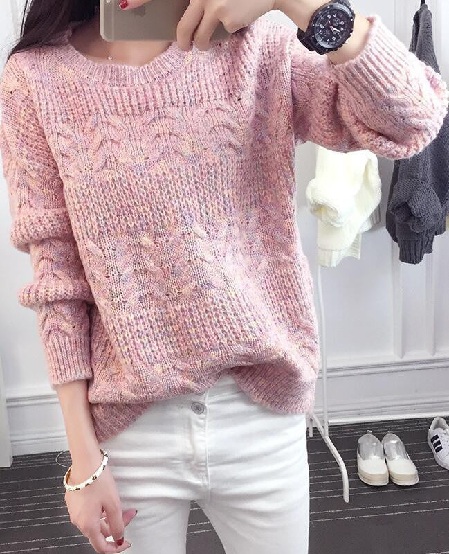 Color Knitting Female Casual Sweater
