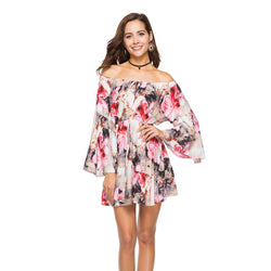 Off the Shoulder Long Trumpet Sleeves Print Women Loose Short Dress