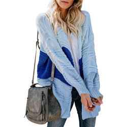 Colorblock Long Sleeve Knit Cardigan Sweater