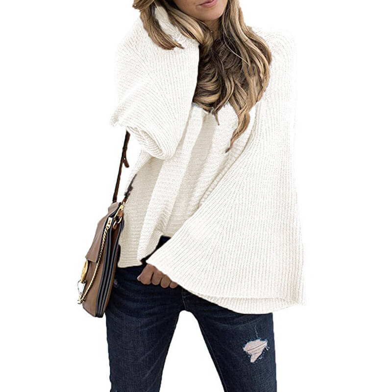 Long Dolman Flared Sleeve Women Sweater