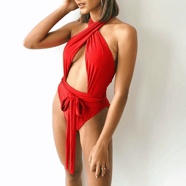 Halter Cutout Bandeau Backless High Cut Swimsuits