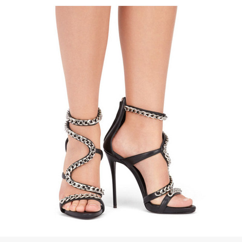 Summer Leather Chain Buckle High Heel Sandals