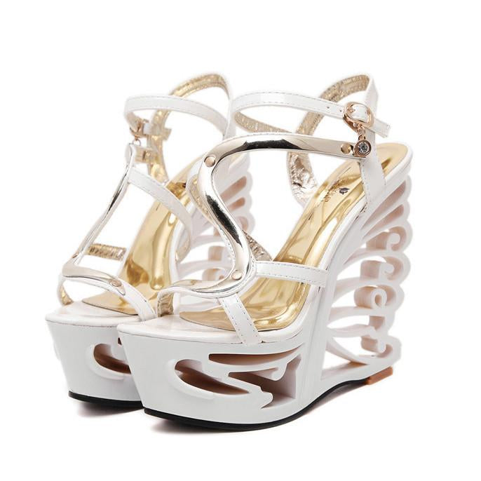 Sexy Hollow Out Platform High Wedge Sandals Club Shoes - MeetYoursFashion - 4