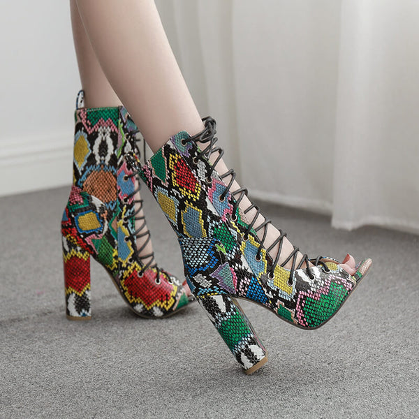 Snakeskin Lace Up Leather Peep Toe High Heel Sandals