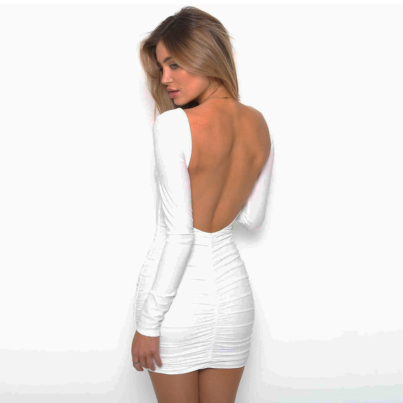 Long Sleeve Backless Bodycon Short Dress