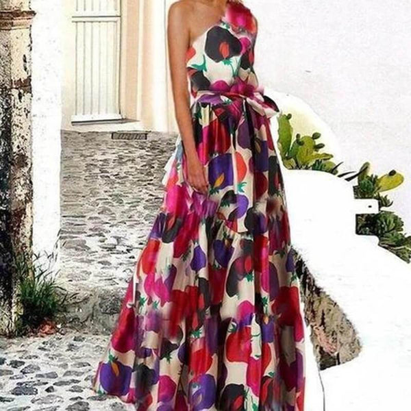 Slash Neck Printed Empire Waist Long Dress